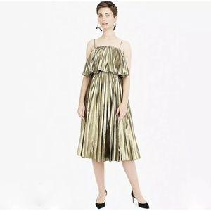J. Crew Gold Lame Pleated Midi Dress - 12